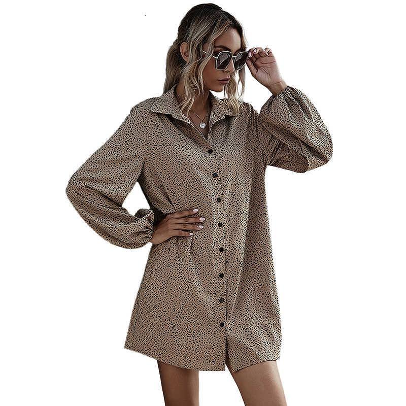Roupas de moda Hot New Women's Casual Lanterna Sleeve Outono Inverno Mulheres Brown com Cinto, Tamanho S-XL