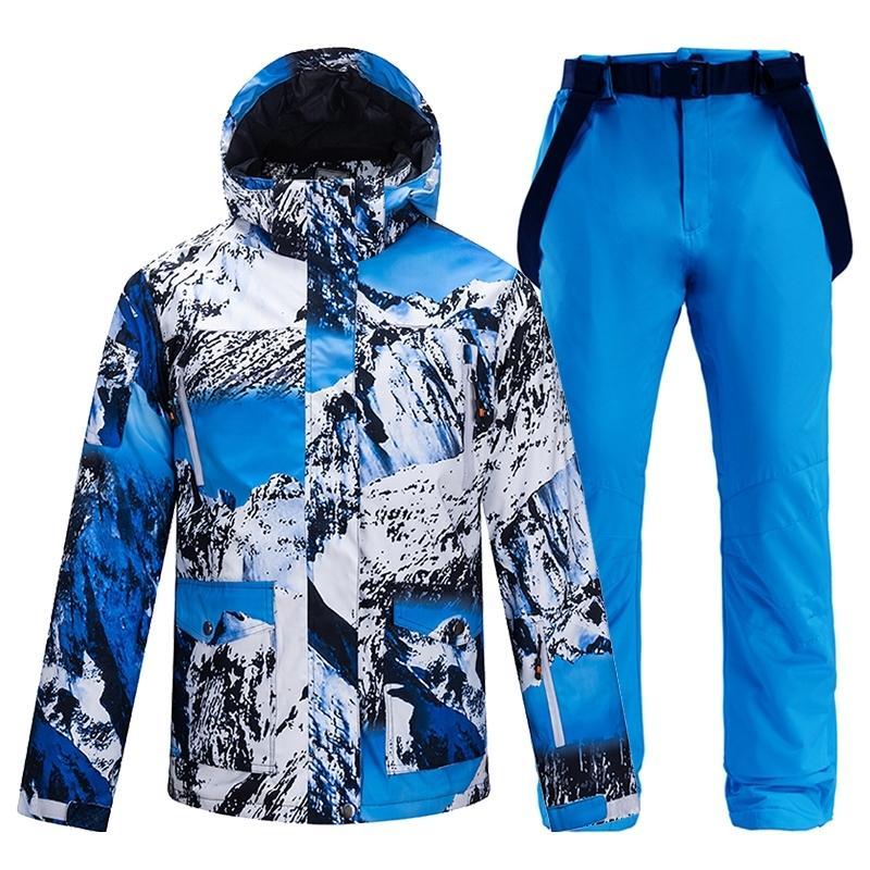 Новые зимние на открытом воздухе спортивный мужчина лыжный костюм снежный лыжный набор набор камуфляж тепловой водонепроницаемый ветрозащитный мужской сноуборд куртки и брюки