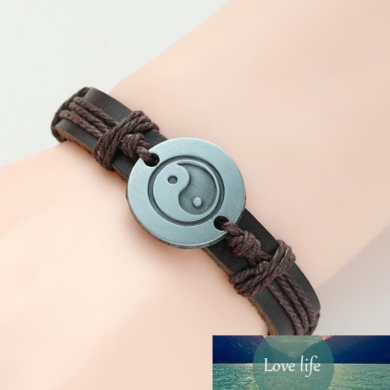 Винтажные Yin Yang Tai Chi Кожаный браслет DIY ручной работы ткачество BFF Лучшие друзья Браслеты для женщин Мужские подарки Pulseira Feminina