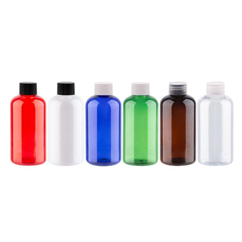 220ml X 12 couleur Rechargeables palstic Bouteille avec Caps Blanc Transparent Noir Vis PET Shampooing Récipient pour le conditionnement Voyage
