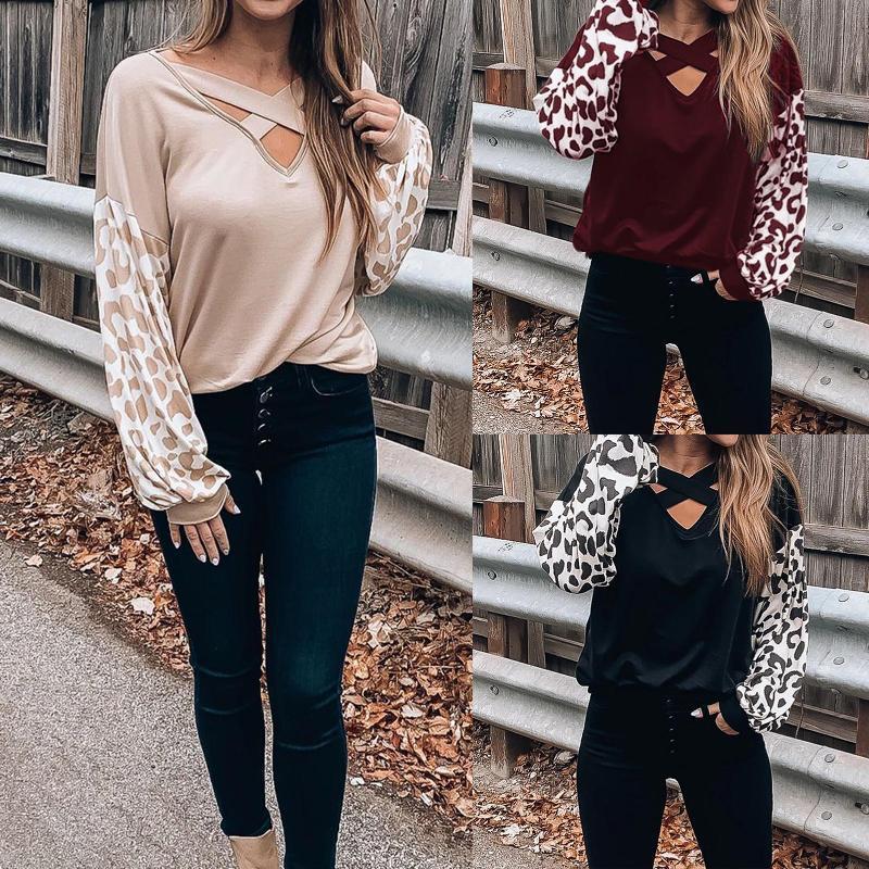 Manica lunga donne Hollow con scollo a V trasversale Leopard Printed T-shirt casuale supera il tempo libero camicetta allentata Pullover Tops