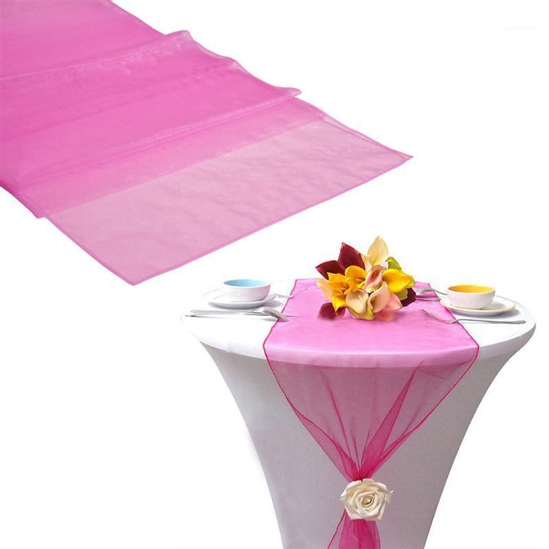 30 * 275cm Sheer Orer Orer organza Table Runner Party Decor Fourniture de mariage DIY Décoration1