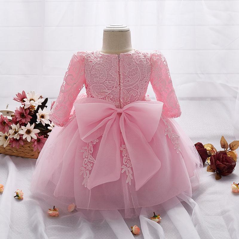 2019 vestido para a menina comprida feminina Branca Batismo Vestidos bebé de 1 ano Wear aniversário da menina da criança Lace Batizado de baile k1