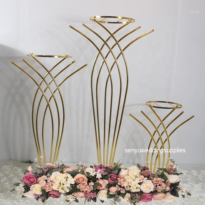 10 unids Fábrica al por mayor Wedding Tall That Metal Tabla Soportes Soportes Flor Jarrón Soporte Oro Columna Decoración1