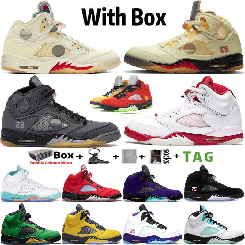 2021 Kutusu Jumpman 5 5 S Erkek Basketbol Ayakkabı Yelken Pembe Köpük Siyah Muslin Alternatif Üzüm Hangi Spor Sneakers Eğitmenler Boyutu 40-47