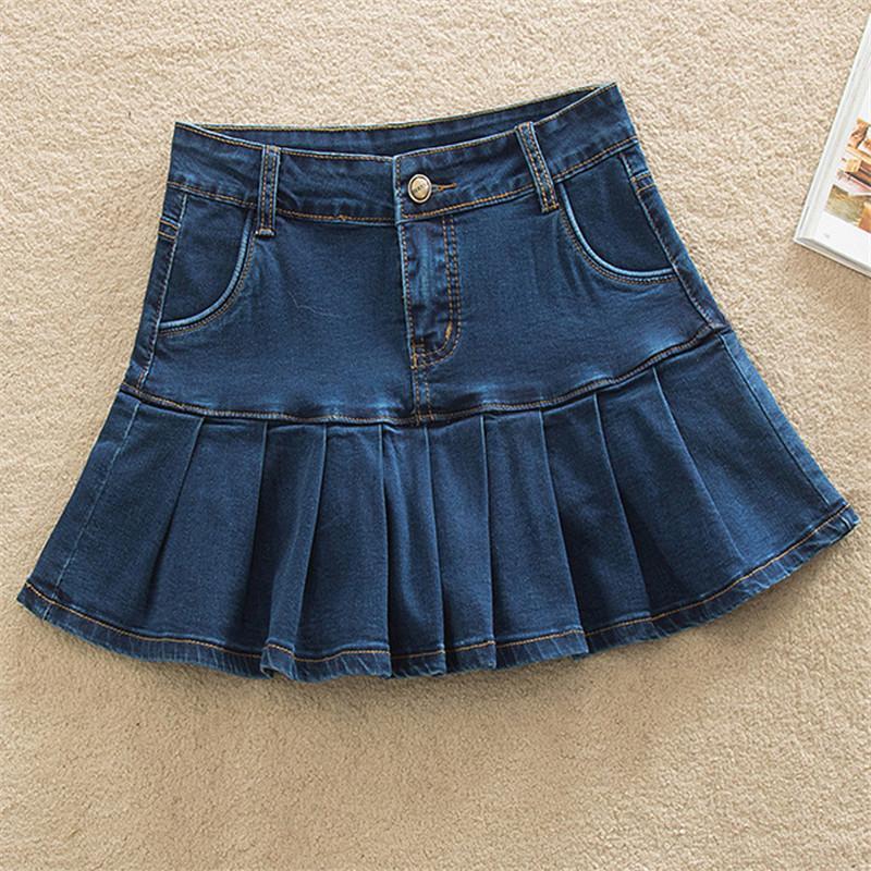 Falda de mezclilla con volantes 6xl Pantalones vaqueros Patinador Patinador Mujer Alta cintura abajo Femenino Casual Plisado Micro Mini Jurken Short WF0219 J0118