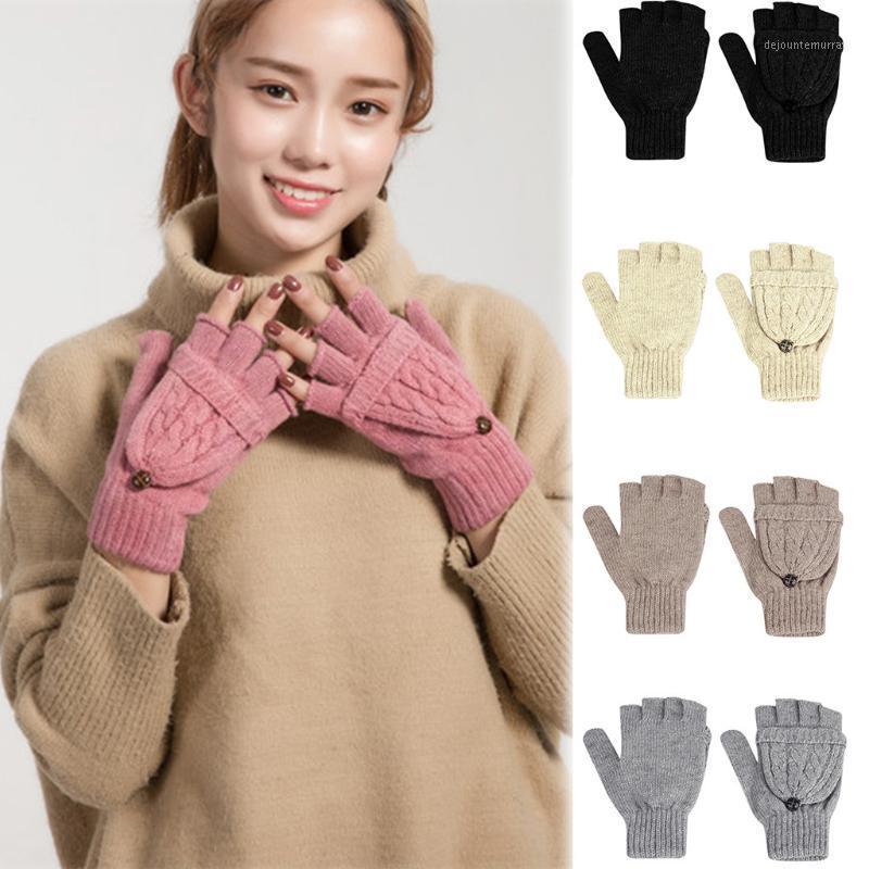 Пять пальцев перчатки женщины зимняя элегантная теплая подкладка - уютный кабель вязаный толстый сенсорный экран варежки варежки Guantes Hiver Modis1