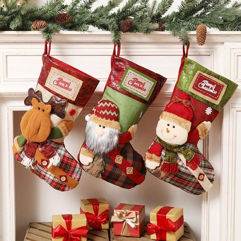 Neujahr Weihnachtsstrumpf Sack Weihnachten Geschenk Süßigkeiten Tasche Weihnachtsdekorationen für Home Navidad Socke Weihnachtsbaum Ornamente DBC BH4343