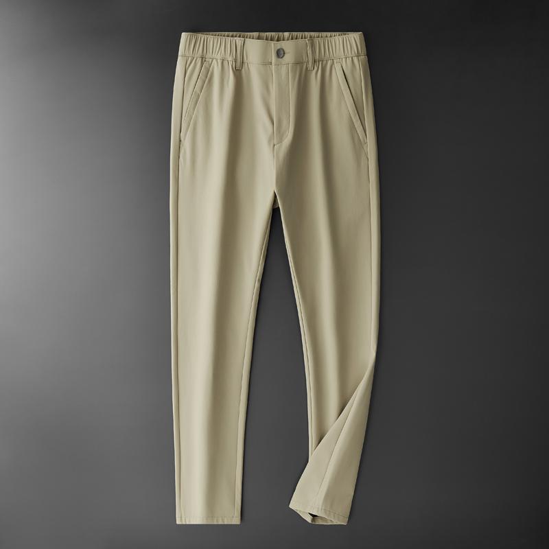 TFETTERS Marque 2020 Hommes Automne Hiver Vêtements d'affaires à taille élastique épais Pantalon de couleur unie anti-rides droite Pantalons Hommes