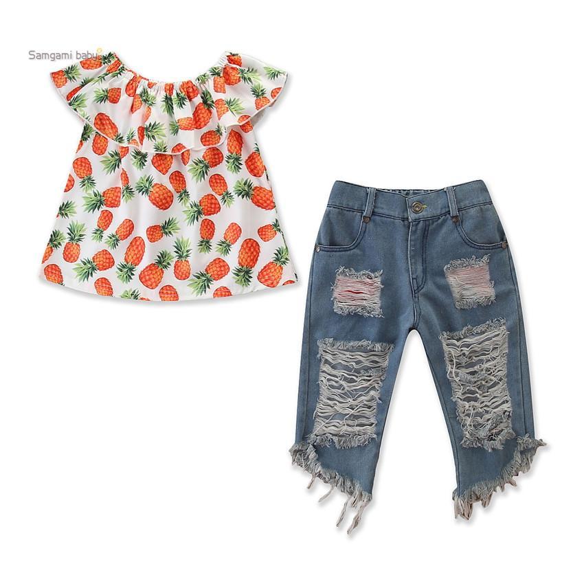 Ins 2 шт. Детские девушки малыша ананасовая одежда детей с наплечниками + разорванные джинсовые шорты наряды набор повседневных детей детская одежда A216