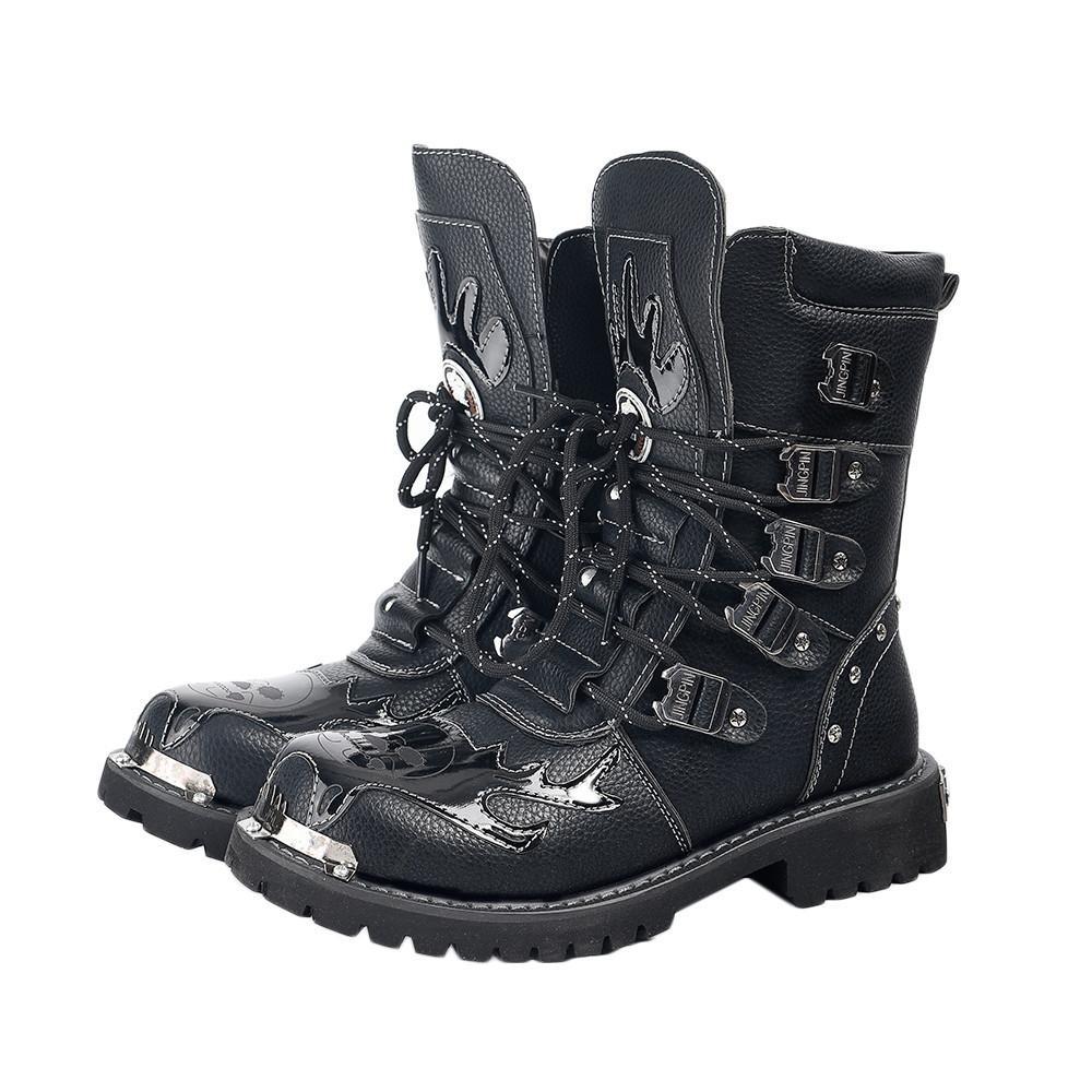 Punk rock homens botas de couro preto sapatos de tornozelo lace up metal decoração personalidade mens shoes 20116