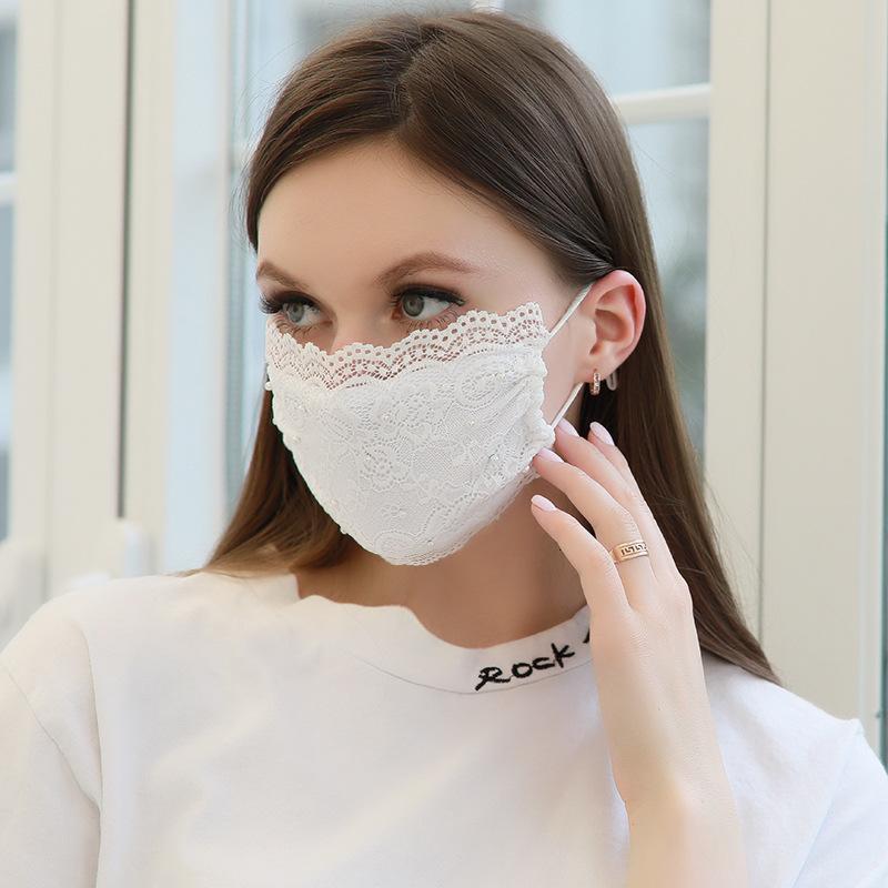 protectvieXMJQXMJQ2021 Nakış Dantel Yeni Yüz Maskesi Yetişkin Rahat Yıkanabilir Ağız Yüz Kapak Moda Kız Siyah Parça