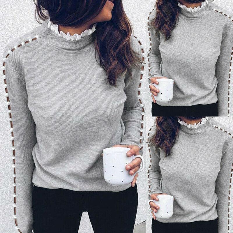 Maglione a maglia a maglia a maglia a maglia a maglia a maglia a maniche lunghe maglione a maglia autunno inverno Signore PullOver di colore solido