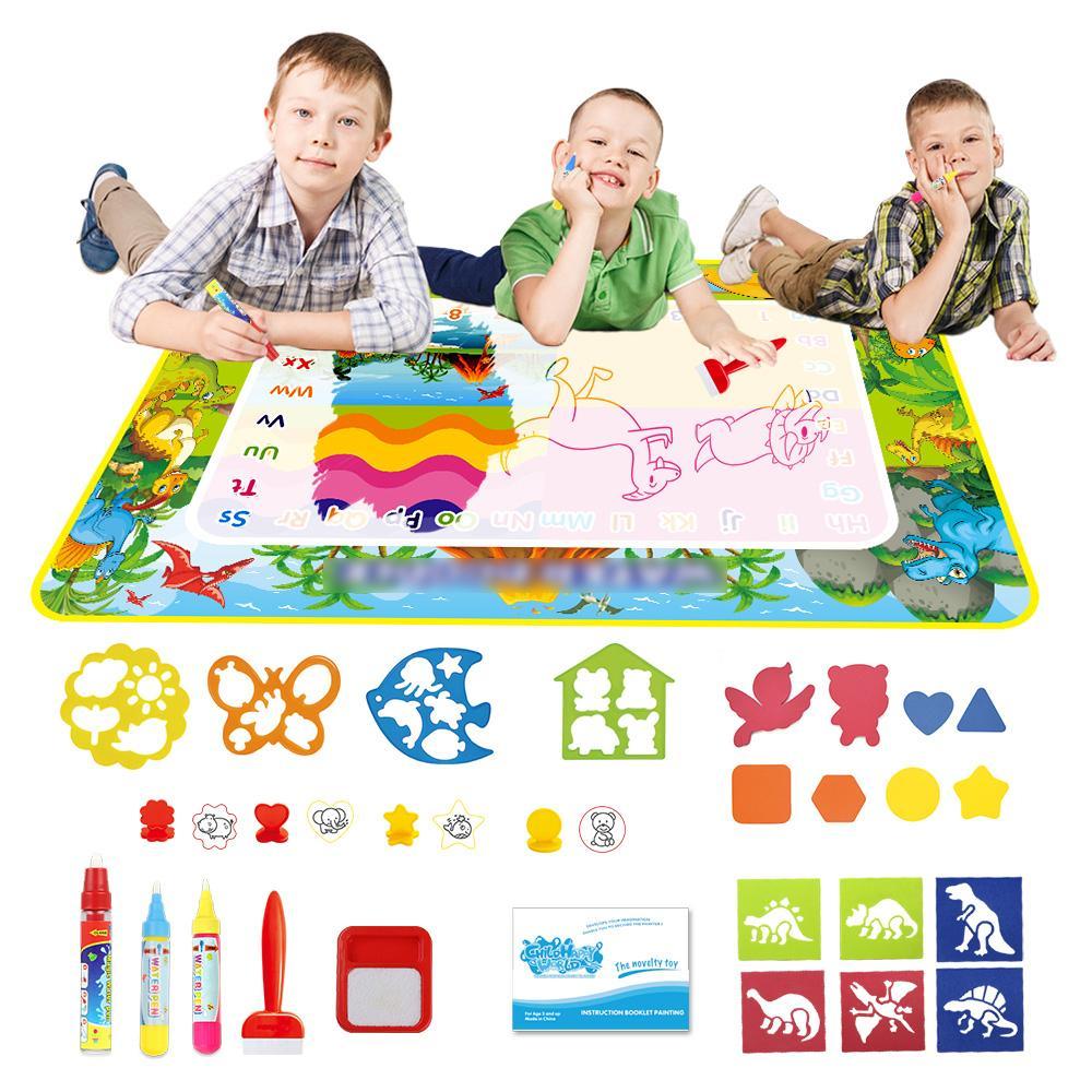 Dinosaur tema dell'acqua dell'illustrazione Mat Penne bollo bambini che verniciano Consiglio del gioco del bambino Mat Doodle Mat giocattolo educativo Tappeto regalo di compleanno 201004