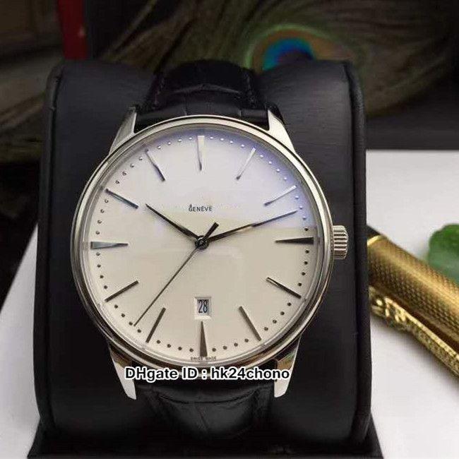 Venta caliente Nuevo 42mm Patrimonio 85180 / 000G-9230 MENS AUTOMÁTICO Reloj Asiático 2824 Movimiento Dial blanco Gents Relojes deportivos Correa de cuero negro