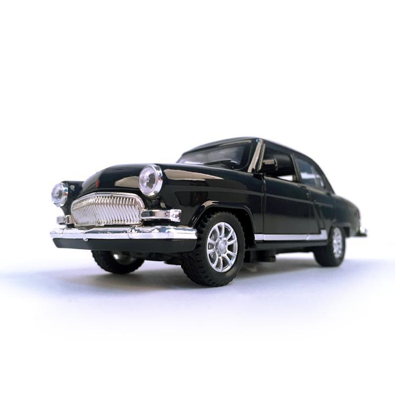 Diecast Car Volga GAZ-21 1:32 Escala Vintage Classics Aleación Car Vehículo Collectible Juguete Pull Back Coche con sonido y luz 210128