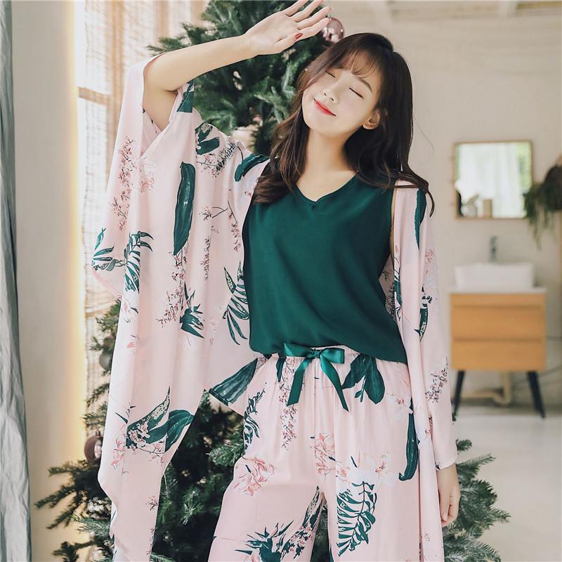 Juli's Syjjf 4 Stück Baumwolle Herbst Winter Frauen Pyjamas Sets Floral Printed Pyjamas Set Top Und Shorts Weibliche Nachtanzug Set T200707