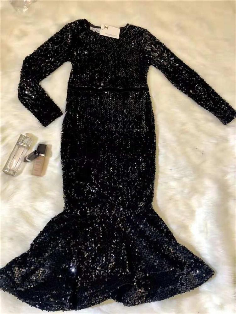 D3017 Outono e Inverno novo high-end lantejoulas fishtail socialite manga longa elegantes dressSequins dressslimming mulheres 101AZ vestir vestido