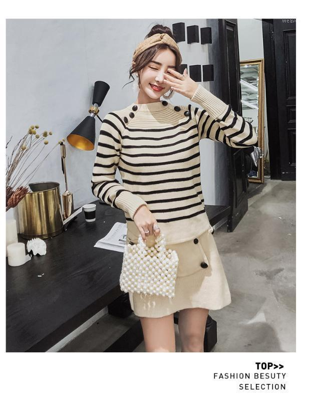 Alta Qualidade 2018 Nova Moda 2 Piece Set Autumn Knitting Camisas Set Mulheres Casual Patchwork Bodycon Office Senhora Dress1