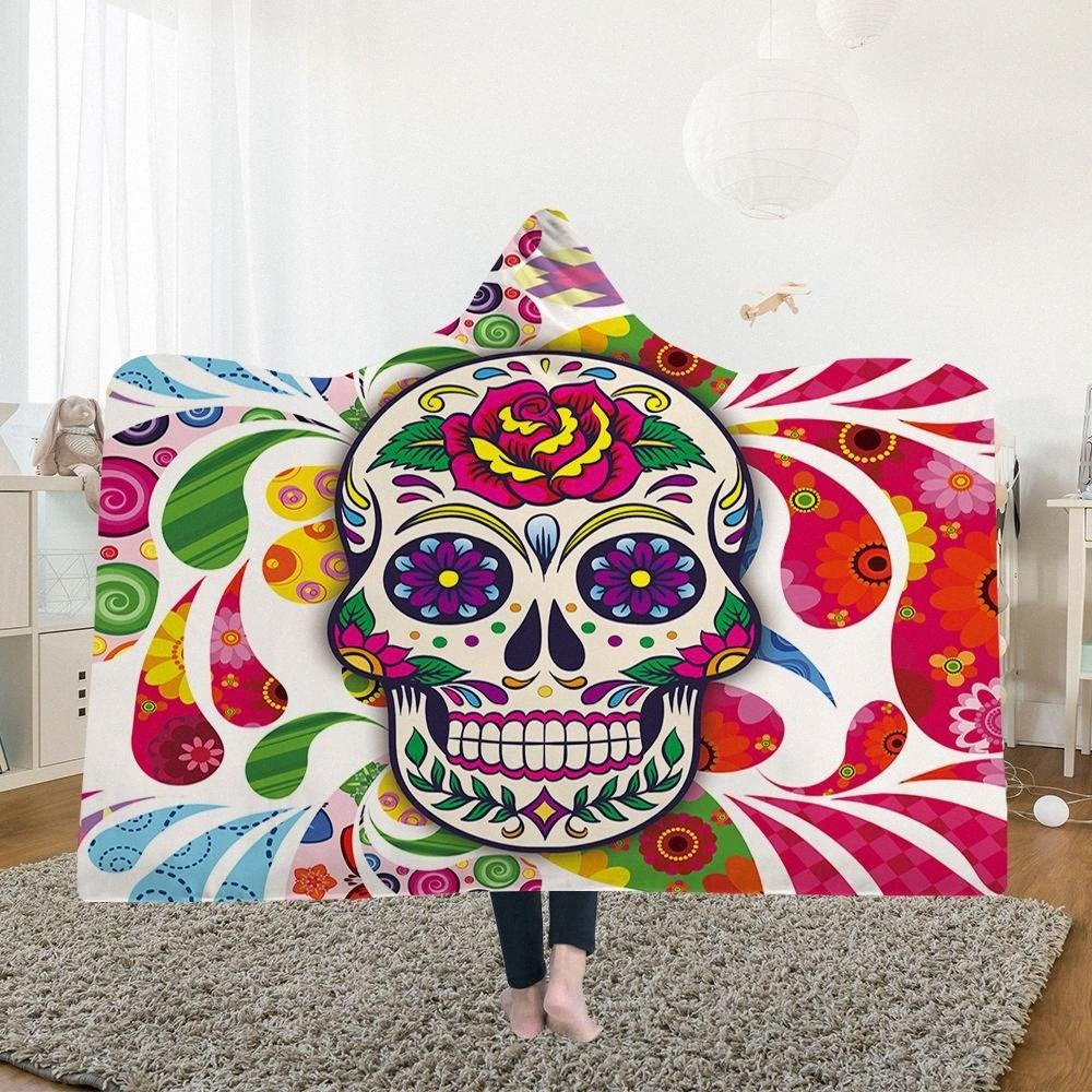 Yoga Mat Hooded Blankets Magic Hat Blanket Thick Double Layer Plush 3D Digital Printing Abstract Skull Series tOfs#