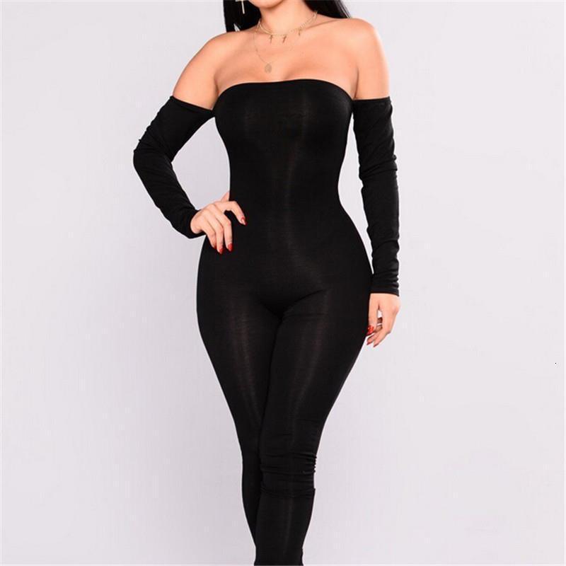 2018 Otoño Mujeres Casual Skinny Skinny Jumpsuit Negro Manga Larga Sexy Off Hombro Bodycon Jumpsuit Mujeres Club Ropa Largo Pantalón