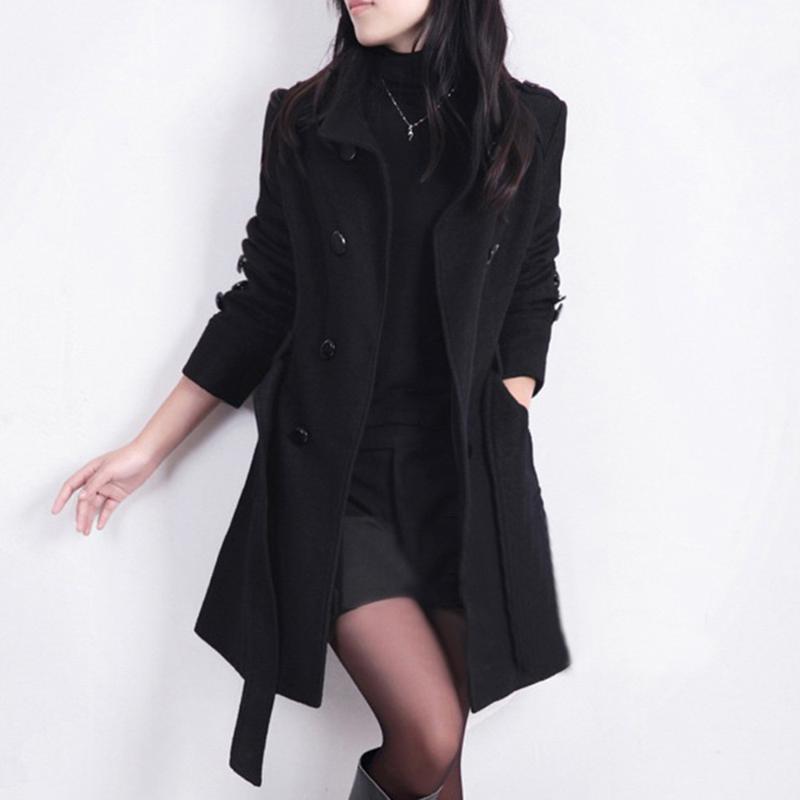New Lady Elegante Trench Coat Chaqueta de moda Mujeres sueltas Invierno Cálido Cálido Manga Larga Botón Botón Abrigo Con Cinturón Ropa Mujer