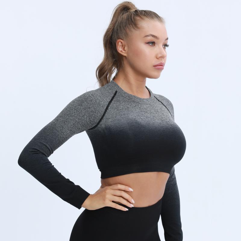 اليوغا تتسابق المرأة طويلة الأكمام اقتصاص أعلى ضغط قمصان تجريب 2021 لينة قمم للرياضة اللياقة البدنية