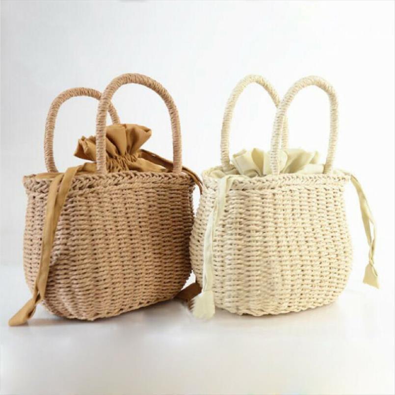 NoEnName Null las mujeres del verano tejida mano rota bolsa de paja de mimbre monedero del bolso de la boda de playa de verano embrague cesta Bolsas
