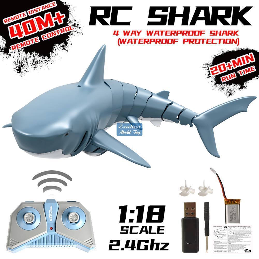 2.4g Fernbedienung Simulation des Hai-Streichspielzeugs, 360 Grad drehen, einstellbare Geschwindigkeit, 20-minütige Ausdauer, Weihnachtskinderjungen-Geschenk, 2-1