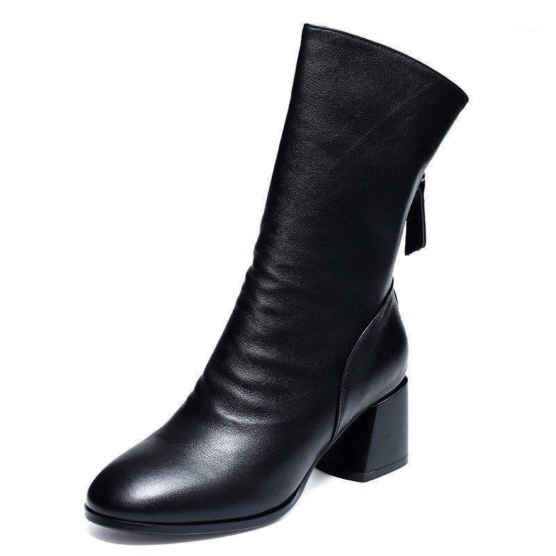 2021 Frauen Mid-Calf gefaltete Stiefel Reißverschluss Square Heel Schwarz Western Rom Lederstiefel Weibliche Grundschuhe für Damen1
