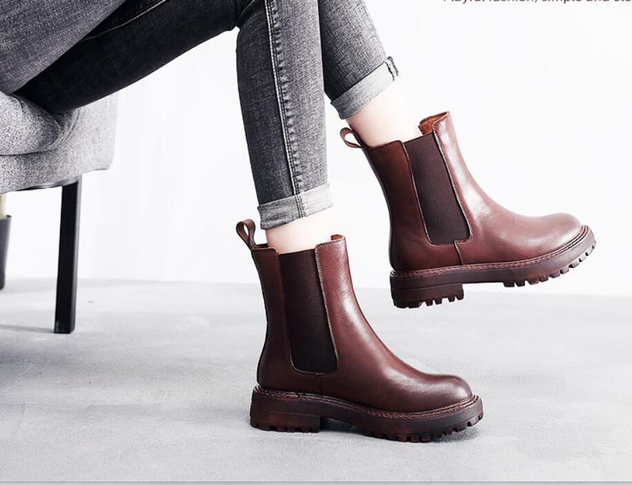 Artı boyutu Martens botlar deri sınır - ötesi Avrupa ve Amerika kadın üst katman sığır derisi ayakkabılar bayram hediyesi