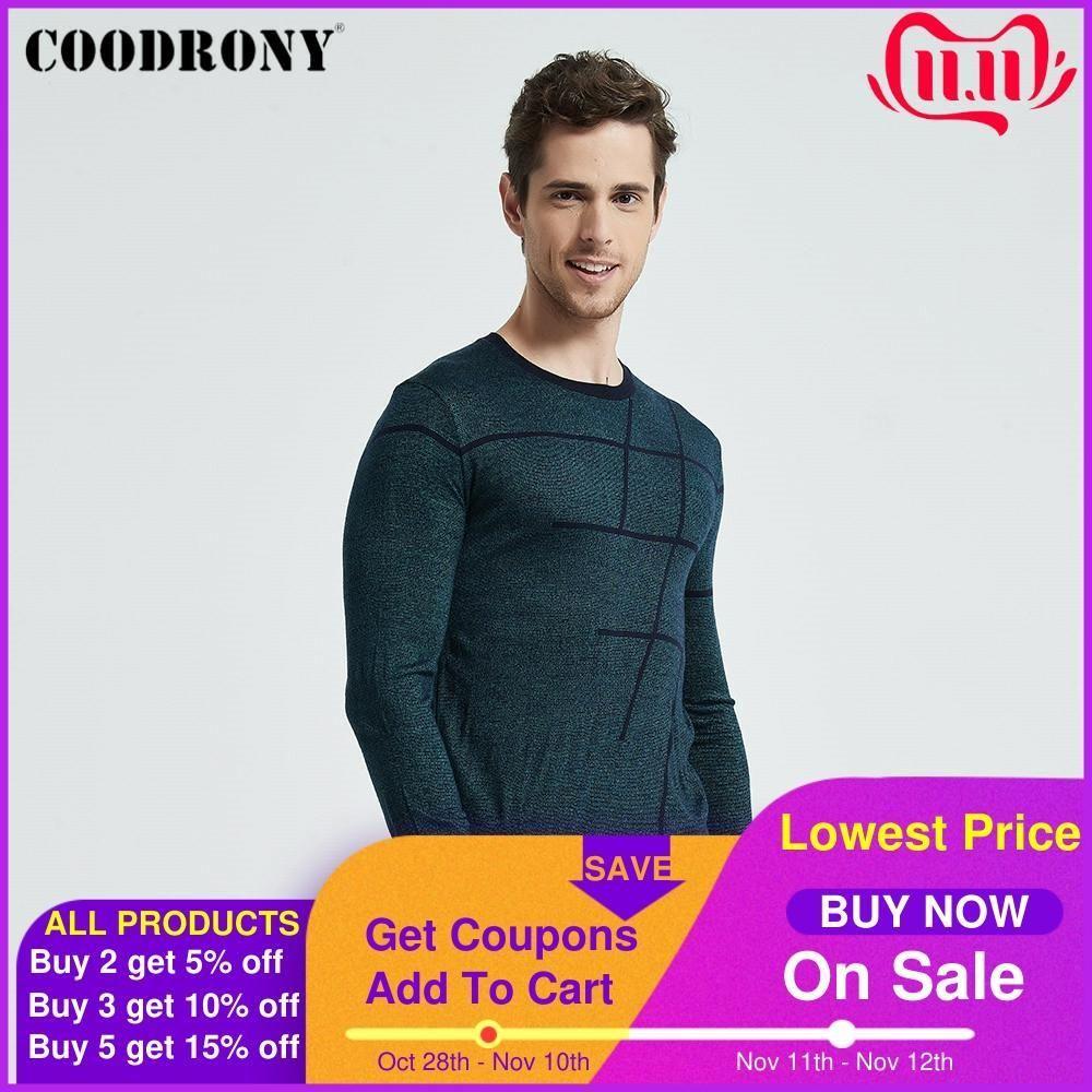 Arrivi COODRONY maglione a strisce casuale O-Neck Pullover uomini copre 2020 Autunno Nuovo Pull Homme Plus Size Thin Maglioni 8150