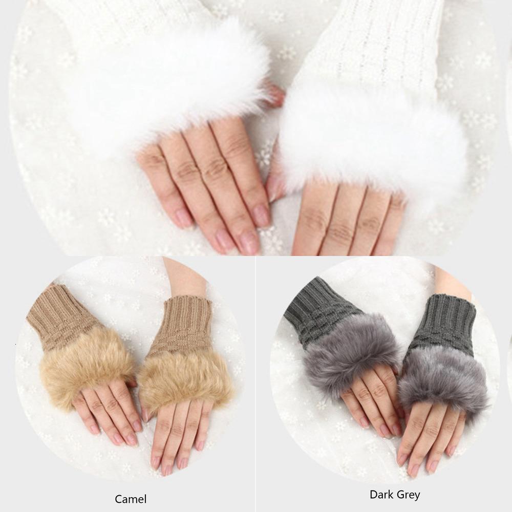Ladies Women Half Finger Fur Winter Warm Wrist Knitted Wool Mitten Gloves TWKZ