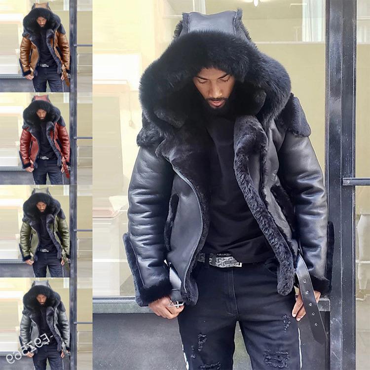 Ecoine Faux Leather Down Pelliccia esterna usura spessa cappotto corto invernale uomo grande colletto con cappuccio con cappuccio giacca casual con cerniera 5xl