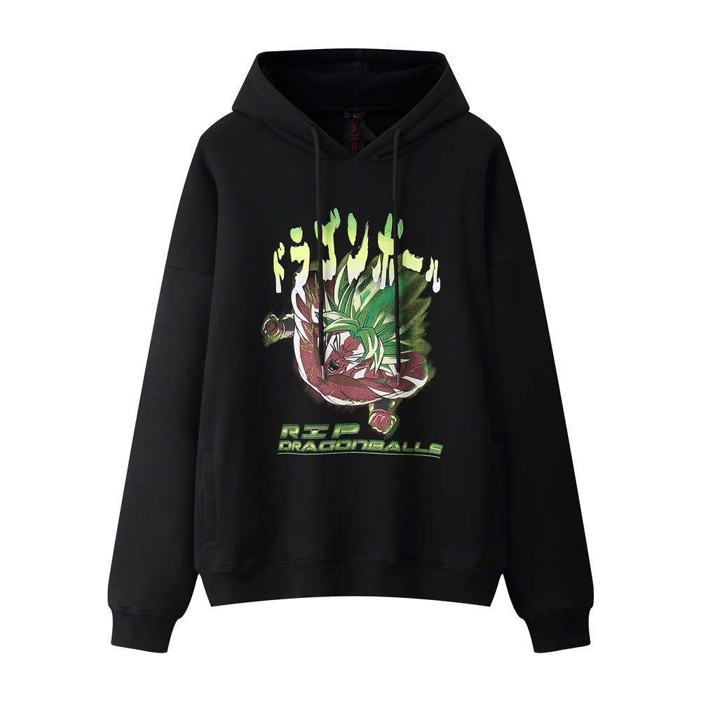 Siete cuentas de Dragón Impreso Suéter de felpa Hombre Ina Moda Sudadera con capucha BF Harajuku Tendencia Pólace suelto