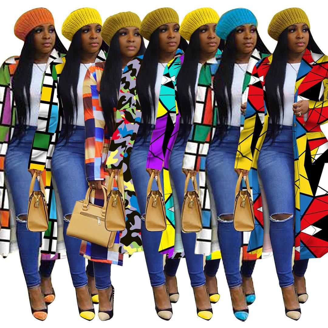 Womens Trench Coats Grid Standard Check Imprimir Dupla Breasted Lapel Windbreaker Long Coat Designer Forma para Mulheres S-5XL