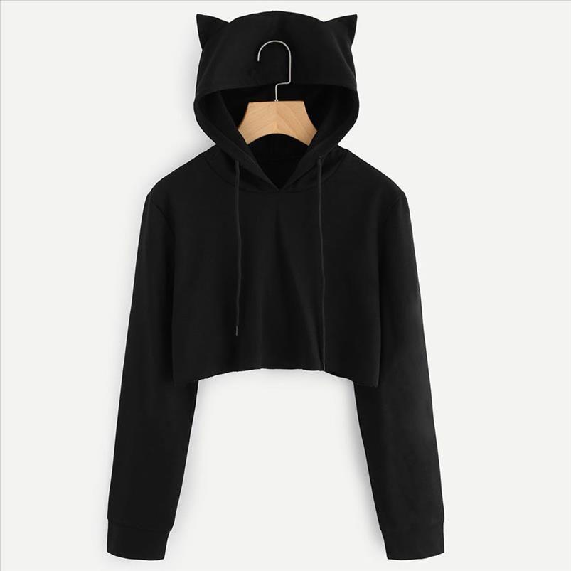 Feitong Harajuku Женские толстовки толстовки кошка ухо с длинным рукавом черные твердые короткие толстовки пуловерные топы Sudadera Mujer 2021