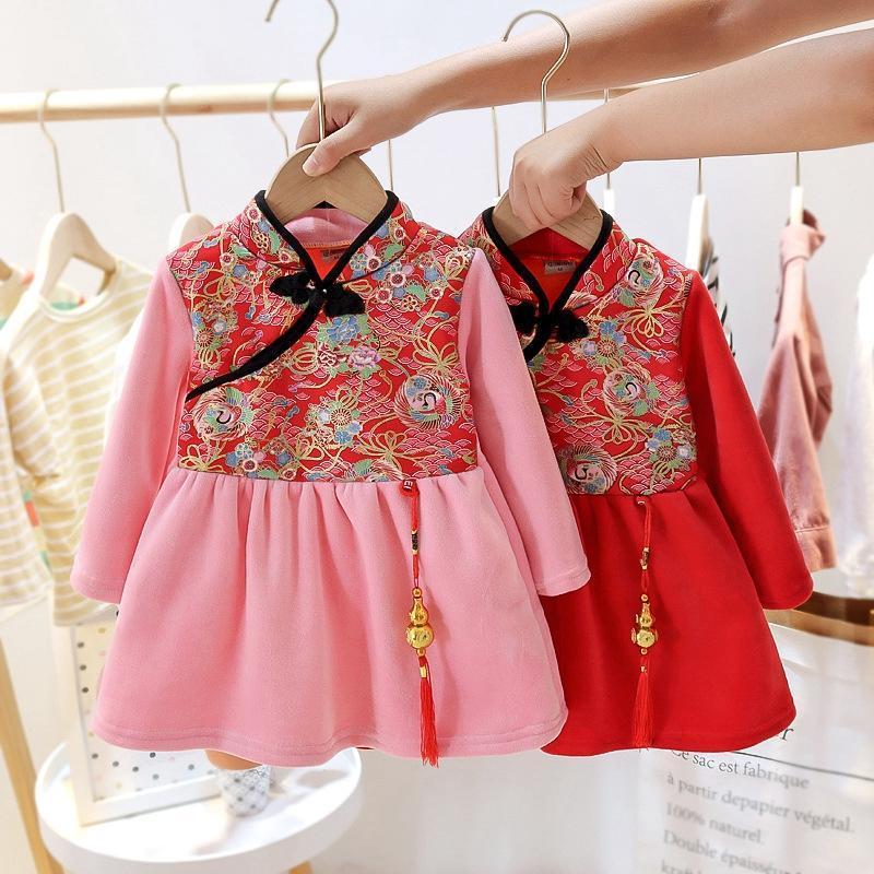 Этнические Одежда Дети Девушки Тан Платье Cheongsam Вышитый Год Девушка Китайский Традиционный Костюм Узел Стиль Принцесса Принцесса