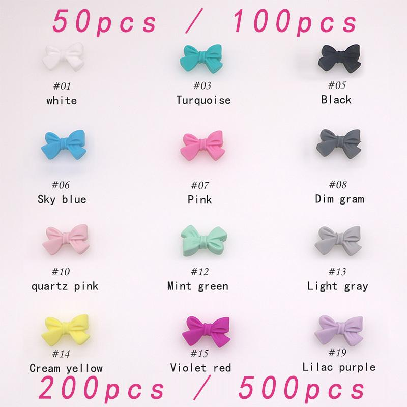 wholesale 27mm Silicone Butterfly Bow Knot Beads 50/100/200/500pcs Food Grade Silicone Teething Beads DIY Chewable Necklace 201123