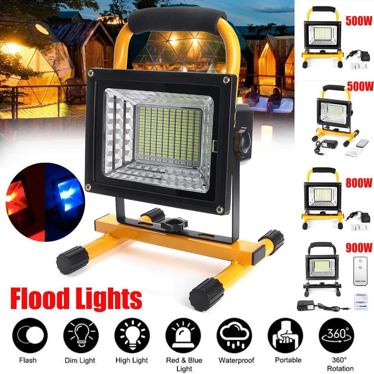 500/800 / 900W LED المحمولة القابلة لإعادة الشحن الكاشف أضواء ماء بطارية تعمل بالطاقة الكشاف في الهواء الطلق مصباح العمل التخييم