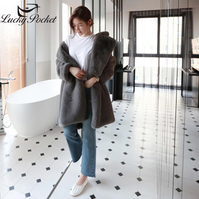 Женщины зима средняя длина моды плюс размер свободный шубой пальто женский сплошной цвет теплый отворот плюшевые пальто новое хранить теплые Parkas ZY291