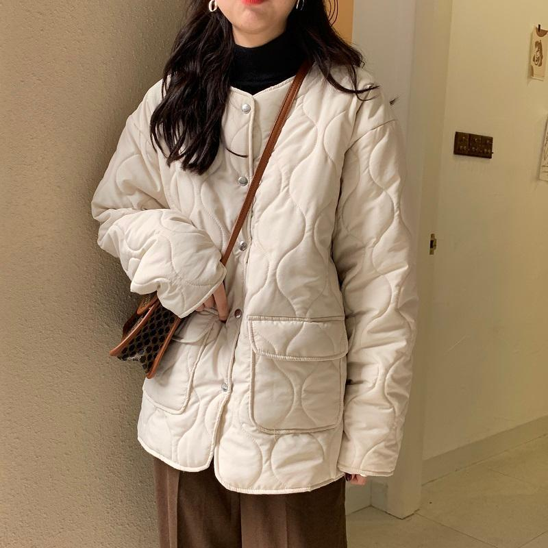 Coton Pardessus coton rembourré manteau de veste d'hiver chaud femmes couleur solide court manteau coréenne Femme Style All-match de vêtements féminins