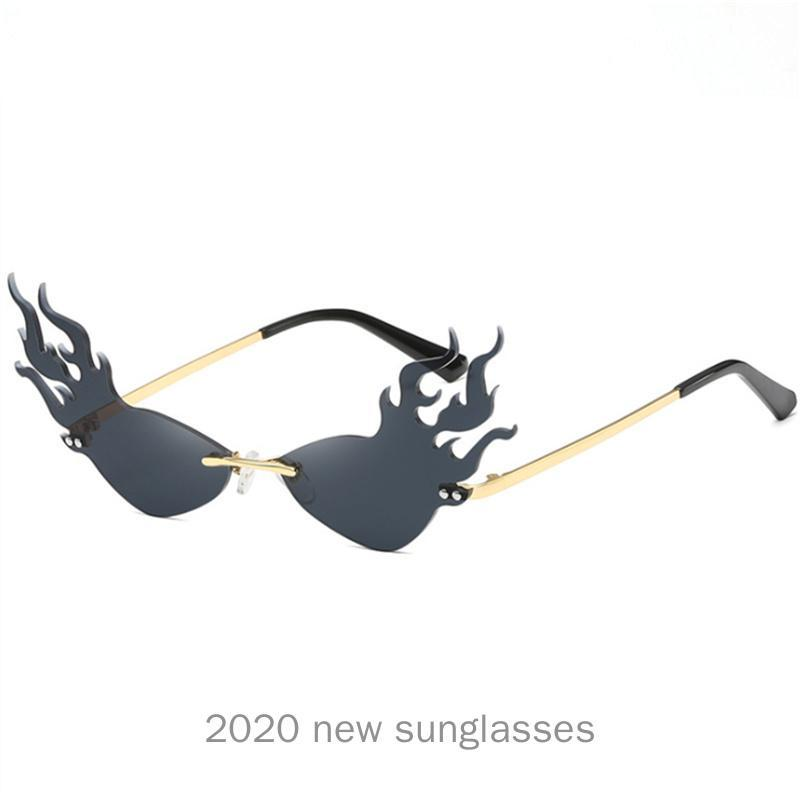 Deisgnless Fire Mirror Gafas de sol MinCl Vintage Marca NX Llama Gafas de Sol Femenino Retro Gafas Sombras UV400 Gato FCQRQ