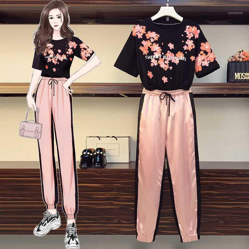 Oneimirry verão mulheres plus tamanho tops duas peças pants conjunto feminino suor ternos cereja blossoms rosa rosa 2 peça roupas roupas1