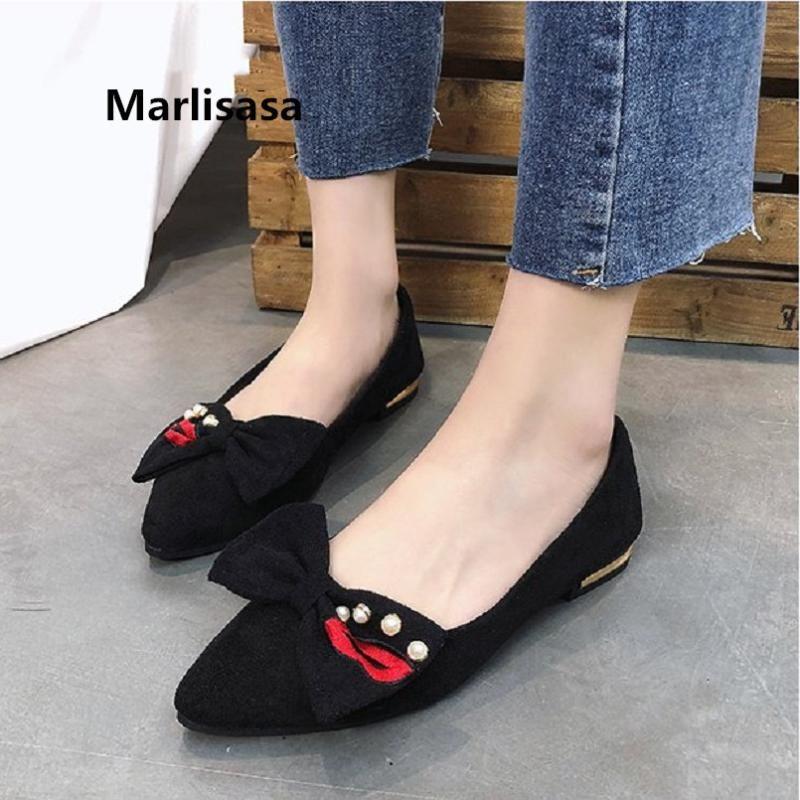 Удобное de Summer Sweet Black Marlisasa плоская обувь квартиры Zapatos Lady Tie Spring Bow Brown Симпатичные повседневные женщины Mujer F2630 BDSXI