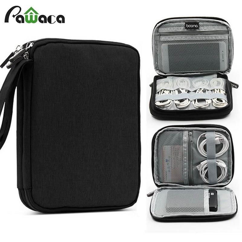 Double couche Travel Mini Cable Bag Organisateur Organisateur Portable USB Digital Electronics Accessoires Stockage Cas de stockage 19 * 14 * 3cm Y200714