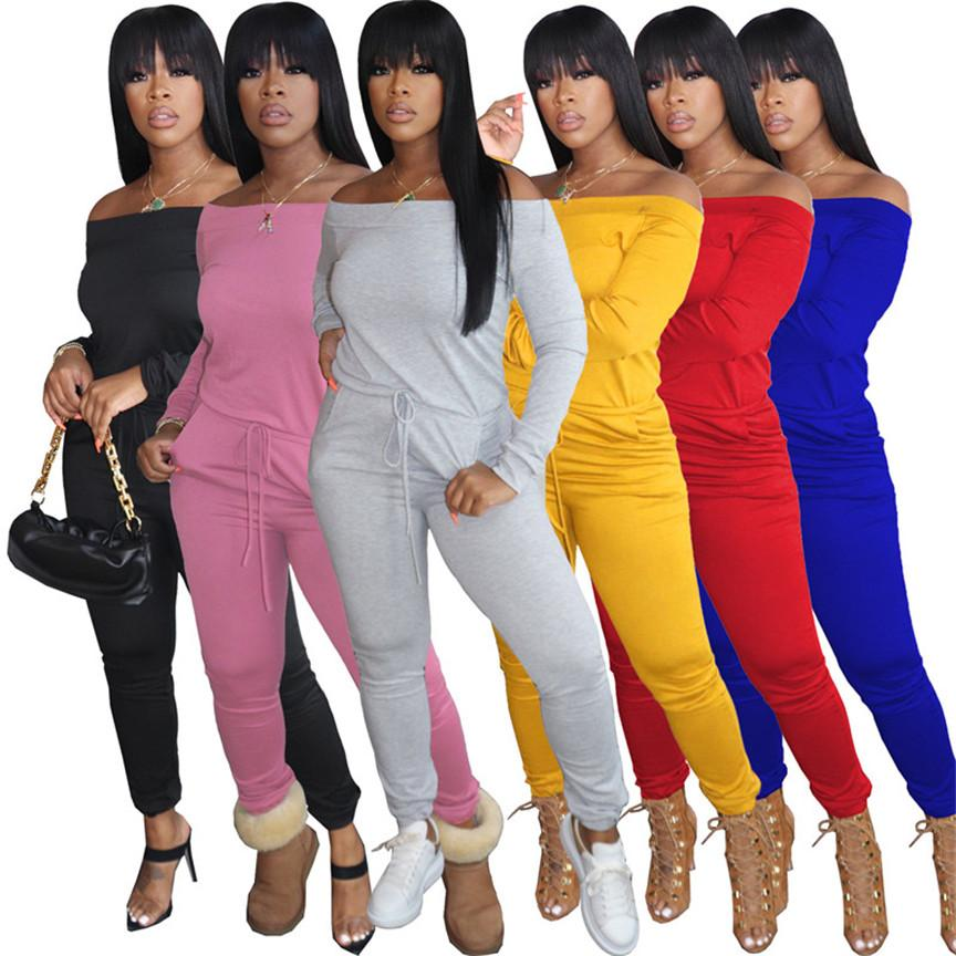 Frauen Solide Farbe Strampler Sexy Jumpsuits Mode Clubbekleidung Plus Größe aus Schulter Onesie Langarm Bodysuit Skinny One Piece Hose 4403