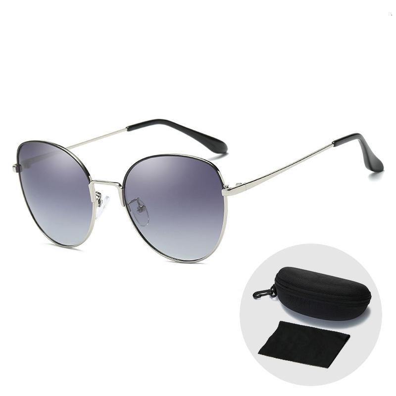 Moda retro polarizados externas Sunglasses 2019 New Cat Eye Sun Óculos para mulheres frescos Oversized Driving Óculos com Zip caso