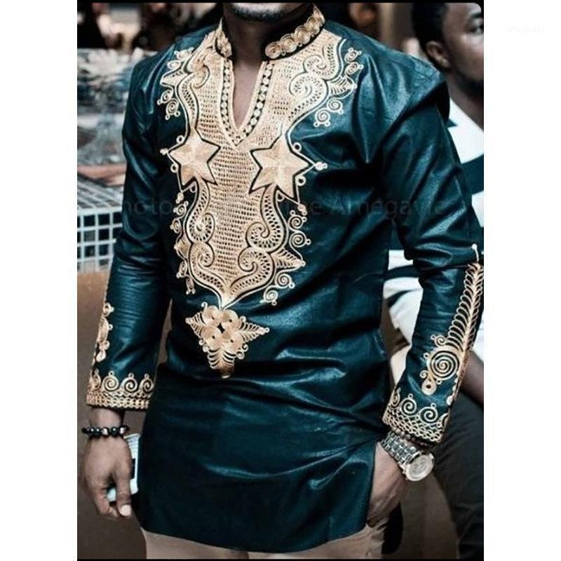 Vêtements africains à manches longues en V cou t-shirt hommes 2018 Marque Nouveau Dashiki Traditionnel Dashiki Maxi Homme Homme Hommes Tops Tees1