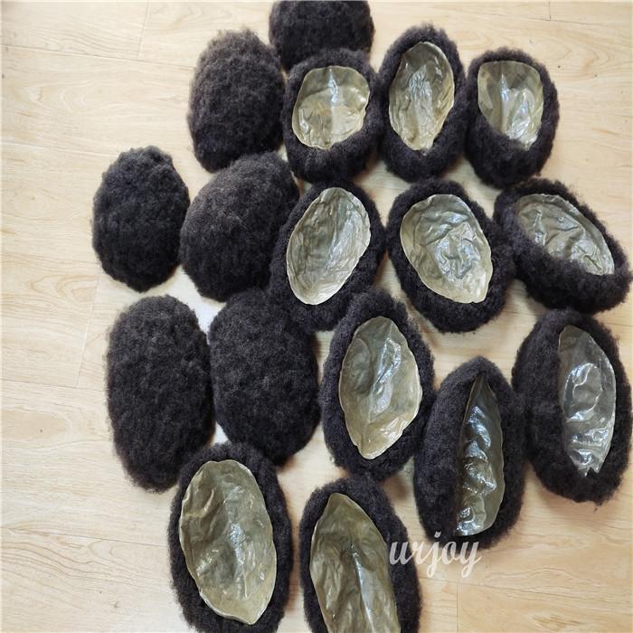 100% Jungfrau Menschenhaar Männer Toupee mit transparent Alle Haut PU dünne Haut Toupee Afro Verworrene lockige Männer Toupee